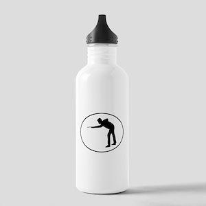 Billiards Player Silhouette Oval Water Bottle