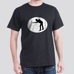 Billiards Player Silhouette Oval T-Shirt