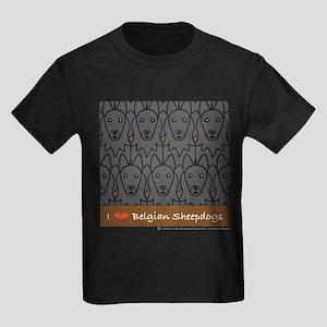 I Love Belgian Sheepdogs Kids Dark T-Shirt