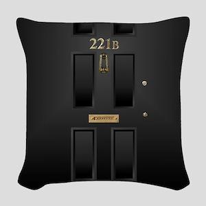 221B Baker Street Door Woven Throw Pillow