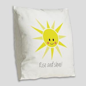 Rise and Shine Burlap Throw Pillow
