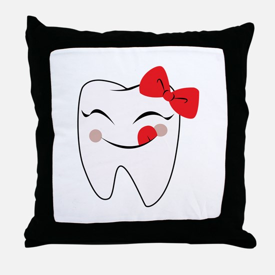Girly Tooth Throw Pillow