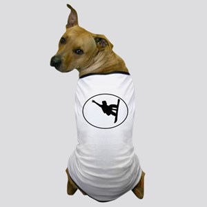 Snowboarder Oval Dog T-Shirt