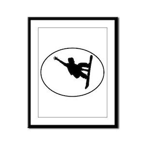 Snowboarder Oval Framed Panel Print