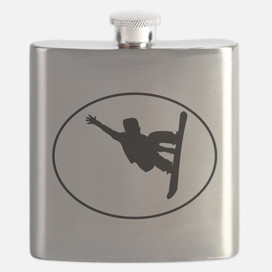 Snowboarder Oval Flask
