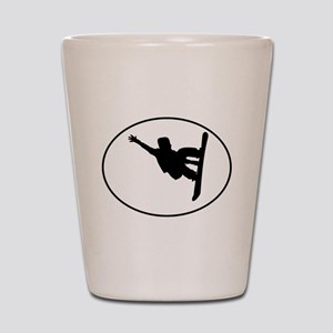 Snowboarder Oval Shot Glass