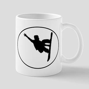 Snowboarder Oval Mugs