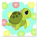 Summertime Sea Turtle Square Car Magnet 3