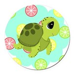 Summertime Sea Turtle Round Car Magnet