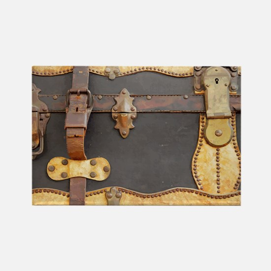 Steampunk Luggage Rectangle Magnet