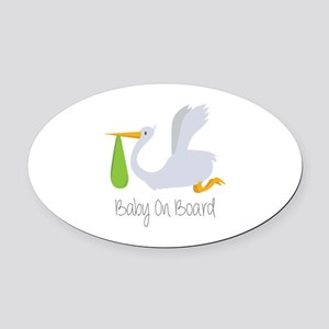 Baby On Board Oval Car Magnet
