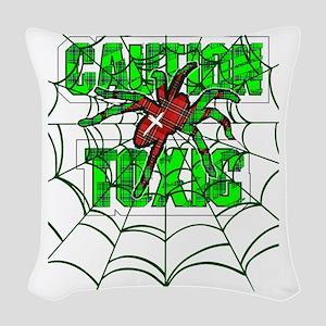 Caution toxic spider Woven Throw Pillow