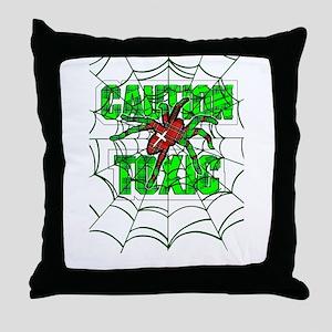 Caution toxic spider Throw Pillow