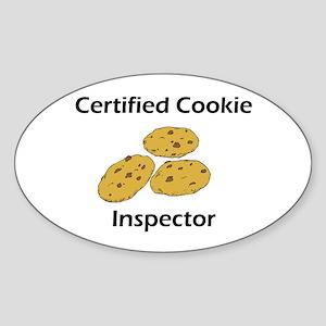 Certified Cookie Inspector Oval Sticker