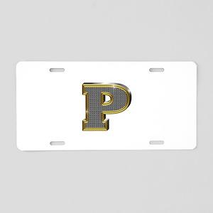 P Gold Diamond Bling Aluminum License Plate