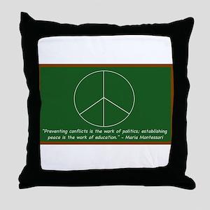 Montessori Peace Quote Throw Pillow