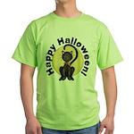 Black Cat Full Moon Green T-Shirt