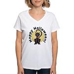 Black Cat Full Moon Women's V-Neck T-Shirt