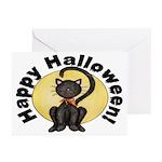 Black Cat Full Moon Halloween Cards (Pk of 10)