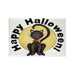 Black Cat Full Moon Rectangle Magnets (10 pack)