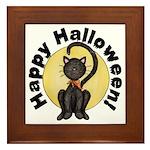 Black Cat Full Moon Framed Tile