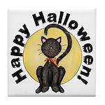 Black Cat Full Moon Tile Coaster