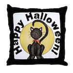 Black Cat Full Moon Throw Pillow