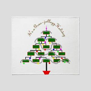 Genealogy Christmas Tree Throw Blanket