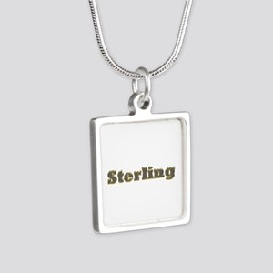 Sterling Gold Diamond Bling Silver Square Necklace
