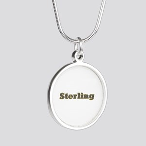 Sterling Gold Diamond Bling Silver Round Necklace