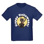 Black Cat Full Moon Kids Dark T-Shirt