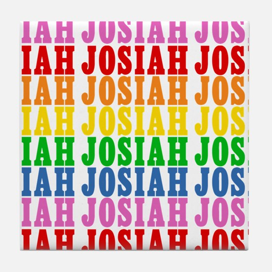 Rainbow Name Pattern Tile Coaster