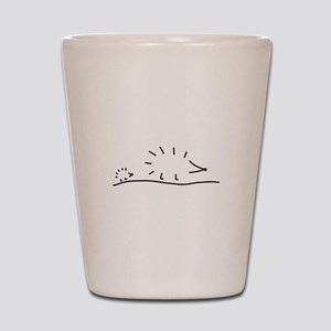 hedgehogs lay a track Shot Glass