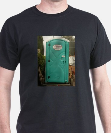 aqua outhouse at work site in san Jose T-Shirt