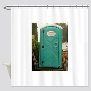 Aqua Outhouse At Work Site In San J Shower Curtain