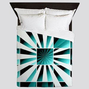 Abstract geometric turquoise Queen Duvet