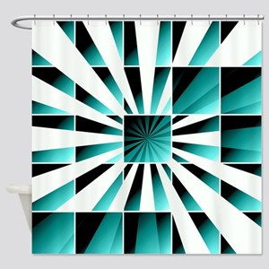 Abstract geometric turquoise Shower Curtain