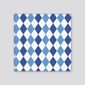 "Blue Arglye Square Sticker 3"" x 3"""
