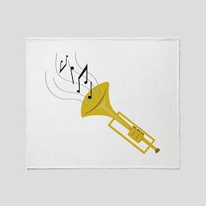 Playing Trumpet Throw Blanket