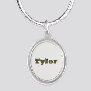 Tyler Gold Diamond Bling Silver Oval Necklace