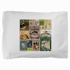 Vintage Book Cover Illustrations Pillow Sham