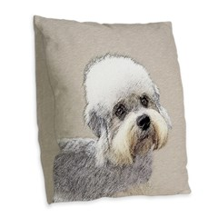 Dandie Dinmont Terrier Burlap Throw Pillow