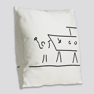 boat builder navigate dry dock Burlap Throw Pillow