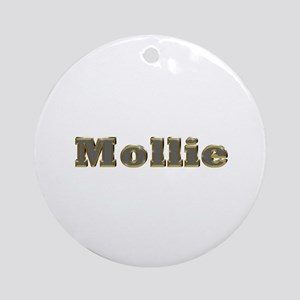 Mollie Gold Diamond Bling Round Ornament