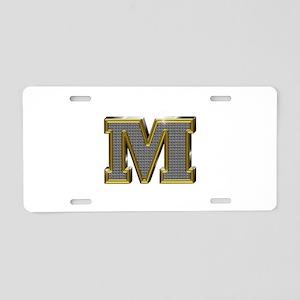 M Gold Diamond Bling Aluminum License Plate