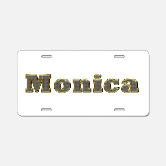 Monica Gold Diamond Bling Aluminum License Plate