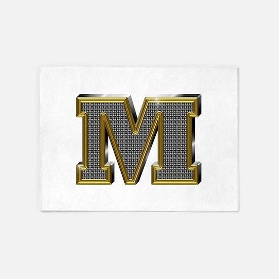 M Gold Diamond Bling 5'x7' Area Rug