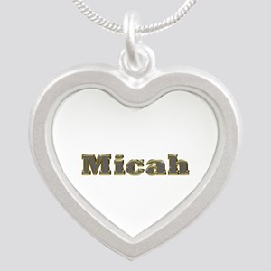 Micah Gold Diamond Bling Silver Heart Necklace