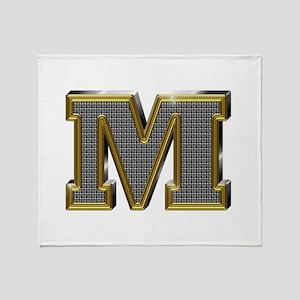 M Gold Diamond Bling Throw Blanket
