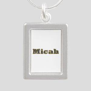 Micah Gold Diamond Bling Silver Portrait Necklace